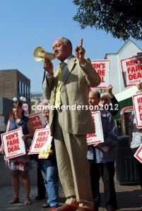 Ex-London Mayor Ken Livingstone canvasses Kingston Upon Thames on the issue of fare prices before the London Mayoral Vote 2012.