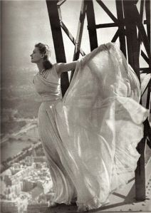 Couture Molyneaux Dress 1939 Photographed on the Eiffel Tower by Irwin Blumenfeld